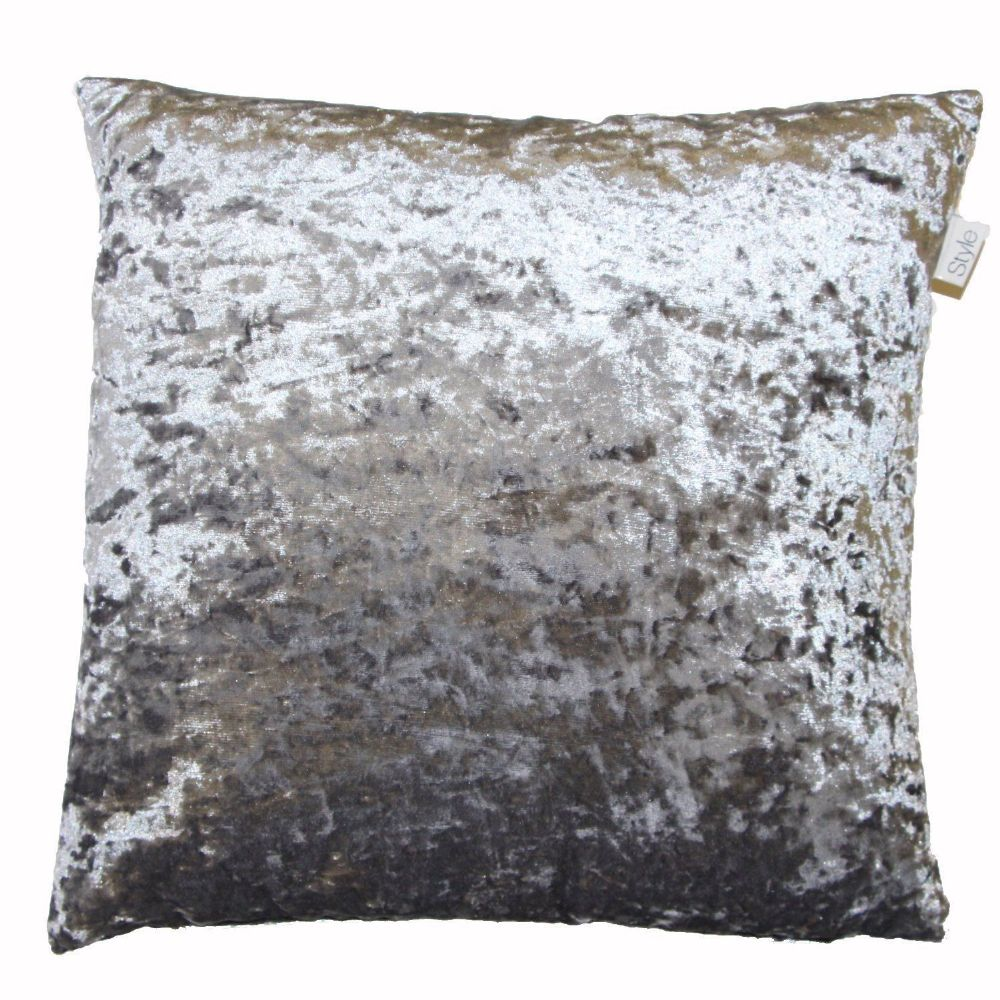 Shimmery Steel Grey Crushed Velvet Large 24 Cushion Cover